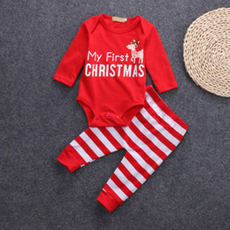 Wholesale Infant Long Sleeve Striped Romper - Christmas Baby Clothing Sets Two Pieces Long Sleeve Cotton Letter Romper and Striped Pants Infant Clothes