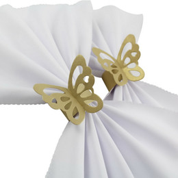 Wholesale Paper Napkin Rings Wedding - Wholesale- 200pieces Butterfly Paper Napkin Rings for Wedding Party decoration Wedding Favors Four Colors for your chose