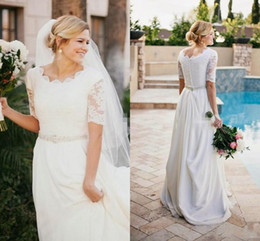 Wholesale Casual Country Wedding Dresses - Casual Illusion Half Sleeve Country Wedding Dresses Crew Neck Vintage Lace Bead Satin Floor Length 2017 Modest Beach Bridal Wedding Gowns