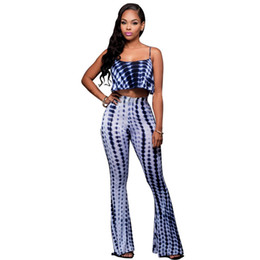Wholesale Sexy Animal Print Jumpsuit - Wholesale- Rompers Womens Jumpsuit 2017 Autumn Sexy Tie Dye 2 Two Pieces Pant Set Sleeveless Backless Bodycon Bandage Bell Bottoms Jumpsuit