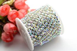 Wholesale Diamante Rhinestone Yard - Diamante ss16 AB Rhinestone Chain Trim Silver 10 yard Garment Accessories