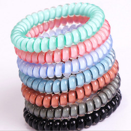 Wholesale Candy Plastics - New Candy Color Elastic Telephone Wire Cord Hair Band Rope Hair Ring for Women Girls Hair Accessories 7 Colors Wholesale