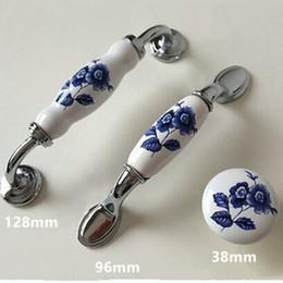 armários de cozinha azul Desconto 128mm moderna moda prata cromo cômoda maçaneta da porta do armário de cozinha azul e branco porcelian armário gaveta knob 5