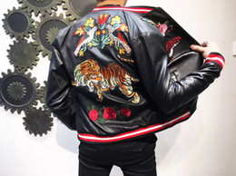 Wholesale Best Motorcycle Leather - 2017 best embroidery leather motorcycle jacket man winter jacket and coat fashion mens outerwear free shipping