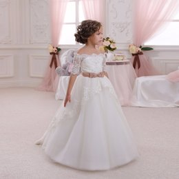 Wholesale Shoulderless Wedding Dresses - First Communion Dress Hollow Back Lace Child Dresses Appliques Half Sleeves Bow Shoulderless Ruffle Little Girl Christmas Tulle Ball Gown