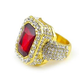 Wholesale Ruby Gold Diamond - red blue ring Men's 14k Gold Plated Iced Red Ruby Cz Ring Size Available Luxury Woman Ring Mens Fashion Finger Bling red diamond
