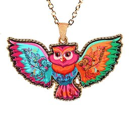Wholesale Color Owl Necklace - fashion vintage animal necklace acrylic alloy color painted wings owl pendant necklace statement hip hop Jewelry wholesale free shipping