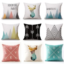 Wholesale Pillow Cover Green - Geometric Beige Cushion Covers Nordic Deer Adventure Mountain Love Arrows Pillow Covers Thin Linen Cotton Bedroom Sofa Decoration