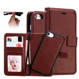 Wholesale Iphone Magnet Wallet Cases - For iPhone7 6 Plus 2 in 1 Magnetic Magnet Detachable Removable Wallet Leather Retro Case Cover for iPhone 7 Galaxy S8 S8 Plus