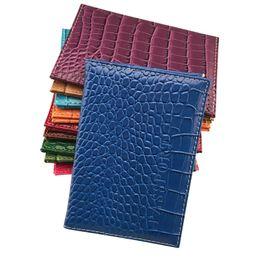Wholesale Passport Cover Card Case - standard size Candy Color Passport Cover Unisex Travel Passport Holder crocodile grain passport case 10cm x14.2 cm