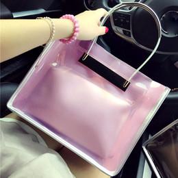 Wholesale Jelly Chain Beach Bags - Wholesale- 2016 Designer Summer Women Handbags Transparent Jelly Bags Chain Crossbody Bags Female Tote Beach Bags Bolsa Feminina 2 pcs set
