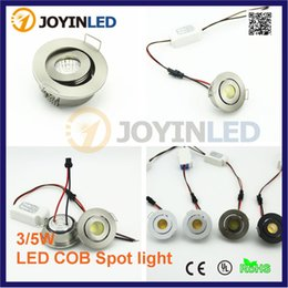 Wholesale indoor outdoor kitchens - Wholesale- 10PCS recessed COB Dimmable Spot light 3W 110V 220V mini LED light downlight Satin nickel miniature indoor outdoor ceiling spot