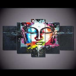 Wholesale Abstract Art Buddha - New abstract Buddha Canvas Painting 5 Pieces Unframed HD Printed Modern Art Picture Home Wall decor