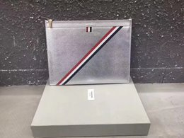 Wholesale Envelope Clutch Men - TB17SS SLIVER COW LEATHER Clutch bags luxury top quality handbag business Folder folder
