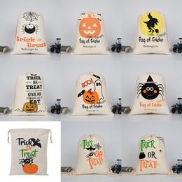 Wholesale Cloth Pumpkins - Halloween Large Canvas bags cotton Drawstring Bag With Pumpkin, devil, spider, Hallowmas Gifts Sack Bags 36*48cm