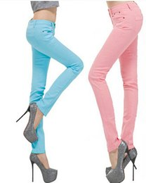 Wholesale Light Pink Coats For Women - Wholesale- 16 colors 2016 candy color jeans for women, fashion Pencil Jeans, Women's Skinny denim trousers, laday's Skinny Pants,
