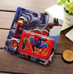 Wholesale Boys Plastic Wallet - Cartoon Spider-Man Faux Leather Quartz Watches And Wallet Boy Girl Gift BW2