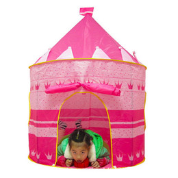 Wholesale Girl Playing Toys Cartoon - Wholesale-Portable Pink Blue Children Kids Play Tents Outdoor Garden Folding Toy Tent Pop Up Girl Princess Castle Outdoor House Kids Tent