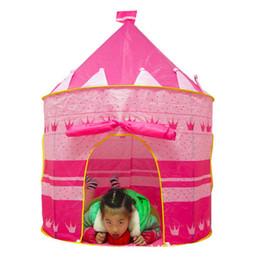 Wholesale Blue Castle Play Tent - Wholesale-Portable Pink Blue Children Kids Play Tents Outdoor Garden Folding Toy Tent Pop Up Girl Princess Castle Outdoor House Kids Tent