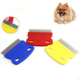 Wholesale Stainless Steel Cat Combs - Pet Dog Cat Clean Comb Brush Dog Hair Grooming Tool Stainless Steel Nit Lice Comb Pet Comb Catching Lice CCA6665 200pcs