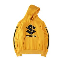 Wholesale Hiphop Fashion Stripe - NEW Style JUSTIN BIEBER STADIUM TOUR yellow men Hoodies hiphop Fashion Casual black stripes Purpose Tour Sweatshirts S-XL 2018