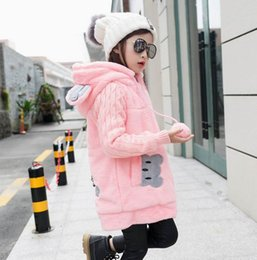 Wholesale Girls Bunny Coat - Autumn Winters Teenage Girls Coat Bunny Cartoon Long Sleeve Flannel Thick Outerwear Children Clothes 4-12Y FML001