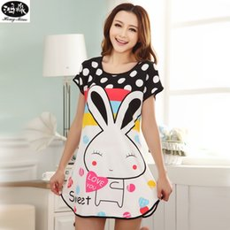 Wholesale Milk Silk Dress - Wholesale- Summer Short Sleeve Nightgown Women Comfortable Cool Milk Silk Fabric Cute Girl Sleepwear Cartoon Printing Sleeping Home Dress