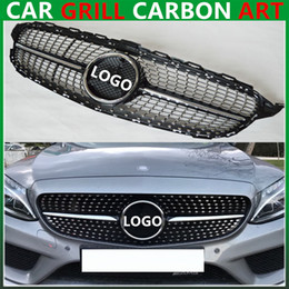 Wholesale Radiator Grills - Mercedes C class w205 diamond radiator silvery gloss black grille grill c63 AMG for benz 2015 + sports edition abs material