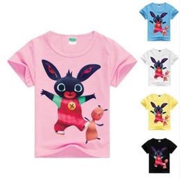 Pantalones cortos de niños británicos online-Nueva caliente Gb Bing conejo camiseta de las muchachas de manga corta camisa de muchachos británicos Ribbit camisa de los niños Ropa para niños Ropa para niños MS1090