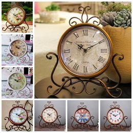 Wholesale Decorative Living Room Clocks - Vintage Metal Round Clock Creative Home Living Room Bedroom Decor Table Floor Clocks Vintage Decorative Desk Clock KKA3112