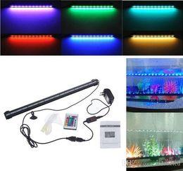 luzes led tubo de pesca Desconto tubo de luz subaquática 18 LED RGB Aquarium Fish Tank Luz impermeável azul White LED Light Bar submersível para baixo