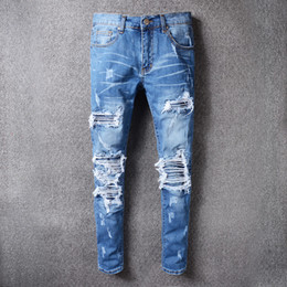 Wholesale american blue jeans - 2018 skinny jeans for men ripped holes jeans Motorcycle Biker Denim pants Men Brand fashion Designer Hip Hop Mens Jeans