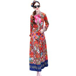 Wholesale long kimono dress plus size - HIGH QUALITY Fashion Women Bohemian Maxi Long Dresses Flowers Print Bow Runway Plus Size XXXL Slim Pocket Dress Vestidos