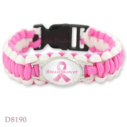 Wholesale Cancer Awareness Charms - Customizable Pink Breast Cancer Ribbon Awareness Paracord Bracelets Outdoor Camping Christmas Gift Valentine's Day gift