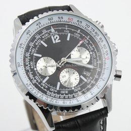 Wholesale Navitimer Automatic - New Hot Sale Swiss Brand Men Watches Chronometre Mechanical Automatic NAVITIMER Watch Mens Cassic Wristwatch Black Dial Leather Strap BL01