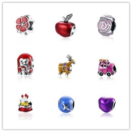 Wholesale Deer Oval - Wholesale 925 Sterling silver beads for diy bracelets Deer Apple Sakura etc shaped Enamel beads 18 style diy jewelry mix order