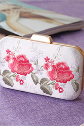 Wholesale Flora Bags - 2018 New Korean Wedding Handbags Bridal Holding Purse Bags Flora Printed Shoulder Bags with Chains Lady Women Formal Party Bags CPA953