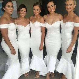 Wholesale Girls Sleeveless One Shoulder Shirt - Cheap Sexy Off Shoulder Mermaid Bridesmaid Dresses 2017 Long African Wedding Guest Dress White Country Maid Honor Gowns For Black Girls