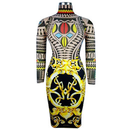 Wholesale Tattoo Traditional - Wholesale- Women Sexy Tribal Tattoo Print Bodysuit Bodysuit Traditional African Clothing Mesh Lace Retro bodysuit romper Baroque Set