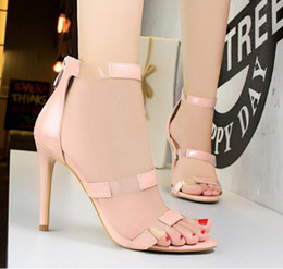 Wholesale Green Prom Heels - Fashion gladiator sandals women high heels PVC patchwork strappy prom shoes 8 colors size 34 to 39