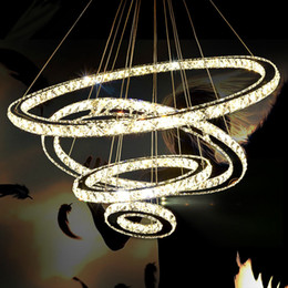 Wholesale Crystal Circle Chandelier - Modern Chandeliers Crystal Diamond Ring LED Crystal Chandelier Light Modern Crystal Pendant Lamp 3 Circles different size position