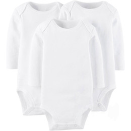 Wholesale High Neck Baby Bodysuit - AbaoDo brand new long sleeve baby rompers 100% cotton pure white infants bodysuit newborn wear clothing high quality