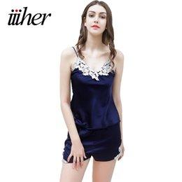 Wholesale Silk Pyjama Dress - Wholesale- iiiher Sexy Women's Lace Silk Satin Night Dress 2017 Women's Deep V-neck Pants Pyjamas Sets V-neck Sleepwear Shorts Homewear