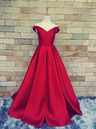 Wholesale Lace Satin Short Robes - 2017 Simple Dark Red Prom Dresses Robe De Soiree V-Neck Off The Shoulder Custom Made Lace Up Back Evening Gowns Formal Party Dresses