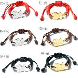 Wholesale Macrame Cords - 6 colors Stainless Steel Enamel Charms women jewelry macrame handmade gift bracelet adjustable size black brown red nylon cords bracelet