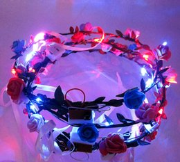 Wholesale Rose Wedding Garland - LED Flashing Rose Flower Festival Headband Veil Wedding Light-Up Floral Garland Hairband Daughter Best Gift