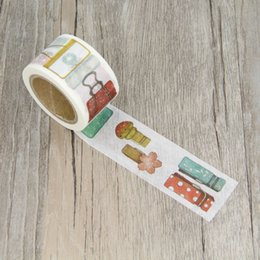 Wholesale Diy Paper Clip - Wholesale- 2016 3.0cm Paper Clip Stationery Clips Masking Tapes DIY Washi Tape Scrapbooking Sticker Decorative Stickers Party Favors