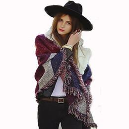 Wholesale Ladies Wool Blend Wrap Shawl - Fashion Women's Thickening Soft Winter Warm Scarf Tassel Cashmere Imitation Wool Scarf Hit Bevel Lattice Lady Large Wrap Shawl 200*70cm