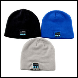Wholesale Hand Knit Cotton - HOT SALE!!!Bluetooth Hat USB Charger Elastic Knitted Caps Support Hand Free Calling Music Listening For Smart Phone