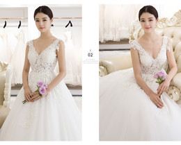 Wholesale Beaded Backless Ball Bridal Gown - 2017 Sexy V Neck Line Wedding Dress Sleeveless Satin Embroidered Beaded Ball Gown Illusion Backless Court Train Bridal Gowns